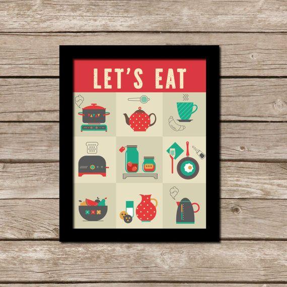 Sale Printable Kitchen Wall Art Retro By Meyermarketdesigns 5 00