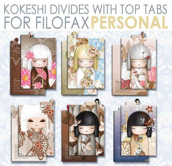 Kokeshi _ Divisori per agende formato PERSONAL. di lucyWONDERLAND