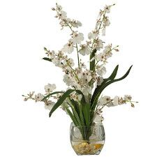 Silk White Orchid Arrangement with Glass Vase | Nearly Natural