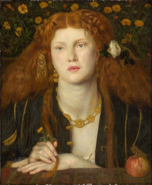 """Dante Gabriel Rossetti, Bocca Baciata (Lips That Have Been Kissed), 1859 (source).Inscribed on the back of this panel is a line from a sonnet by the fourteenth-century Italian writer Giovanni Boccaccio:""""Boccca baciate non perda ventura, anzi rinova come fa la luna"""" (The mouth that has been kissed loses not its freshness; still it renews itself even as does the moon). –from the MFA description"""