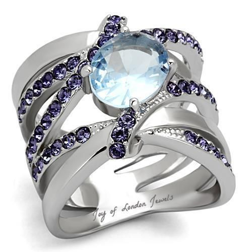 Premium Grade High Quality Stainless Steel Aqua Marine Synthetic Stone by Classy Not Trashy/® Womens Fashion Jewelry Ring