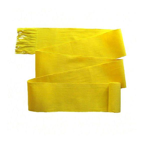 Bohemian Belt Bright or Gold Yellow Sash Shade of Yellow Woven Sash Guatemala