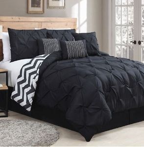 7 Piece Comforter Set Pinch Pleats Black, Reversible Black White Chevron