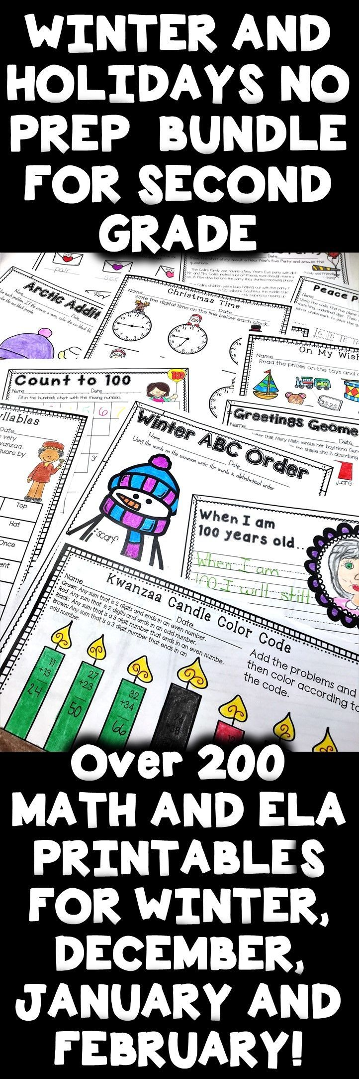 Second Grade Winter And Holidays Literacy And Math No Prep Bundle Is Jam Packed With Printables For December January And February A Second Grade Math Literacy