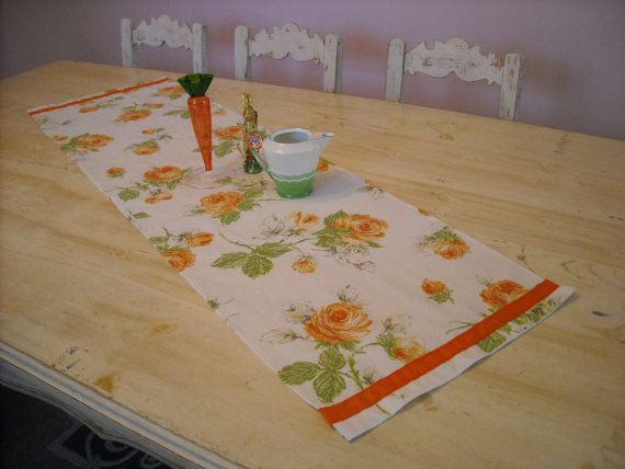 Blooms in Orange Runner with Ribbon Trim 52x15.5 by DressYourTable