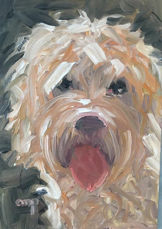Cockapoo dog painting original oil painting 7x5 inches