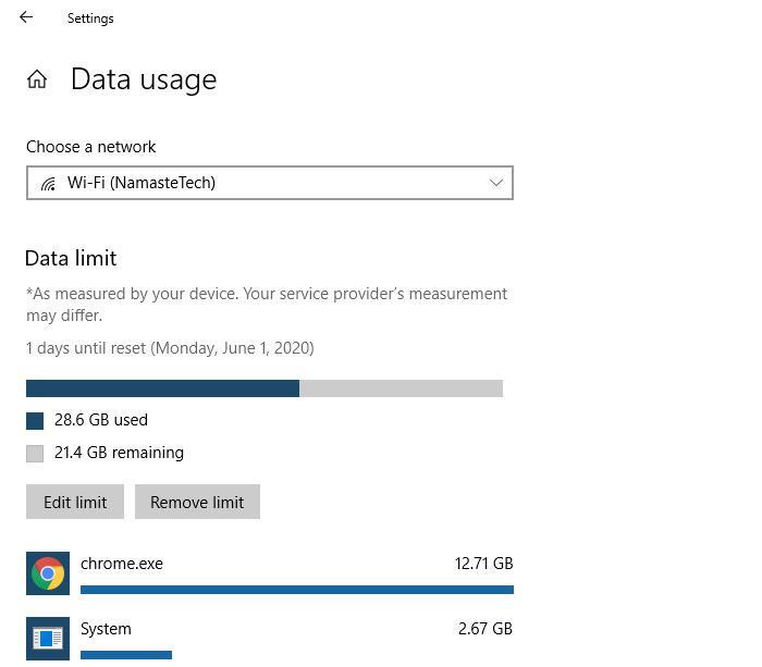 Windows 10 Features An Easy Way To Monitor And Control Data Usage If You Do Not Have An Unlimited Data Package Or In 2020 Windows 10 Internet Settings Unlimited Data