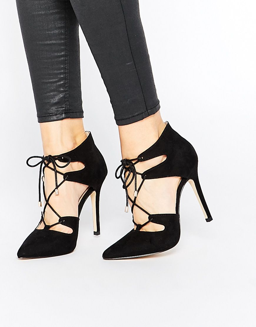 707cf95ae61 Image 1 of Carvela Kayleigh Ghillie Lace Point Heeled Shoes ...