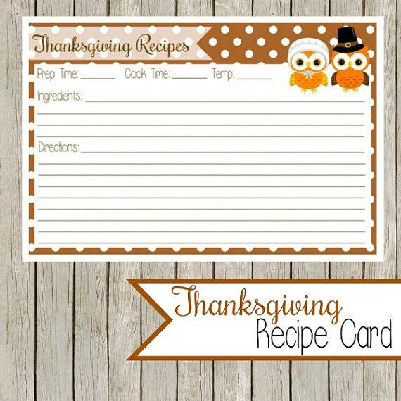 Thanksgiving Recipe Card Printable
