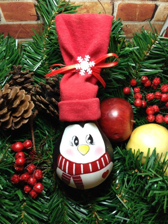 Hand Painted Light Bulb Penguin/ Christmas by WattASwitch on Etsy