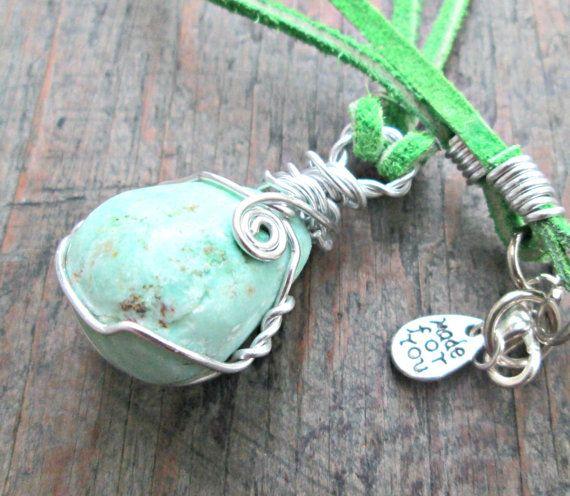 Chrysoprase Necklace  Mint Green Stone Necklace  by EarthChildArt