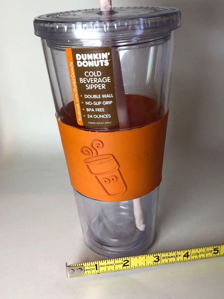 Dunkin Donuts 24oz Clear Acrylic Travel Mug Cup Cold Tumbler Iced Tea Coffee New Dunkindonuts Largest Icedtea Icedcoffee