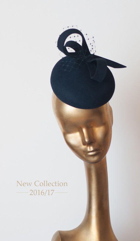 85da285384c9b Unique Modern Navy Blue Felt FASCINATOR. Fascinator for Women by  ancoraboutique on Etsy