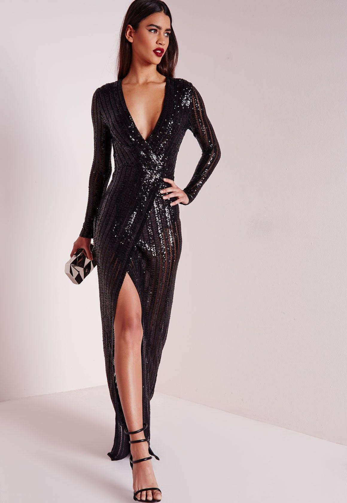 Missguided Premium Sequin Stripe Wrap Maxi Dress Black Long Black Sequin Dress Long Sequin Dress Black Sequin Gown