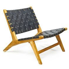 Woven Leather  Teak Lounge Chair  Black Woven Leather  Teak Lounge Chair