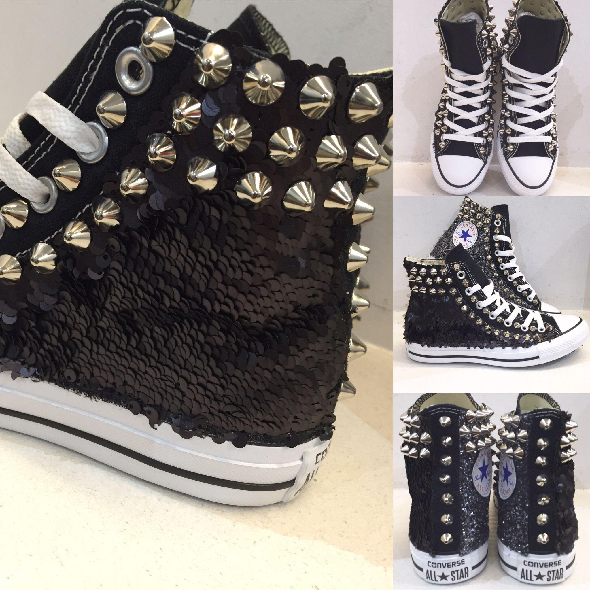 Converse glitter nero lato interno,paillette nero lato esterno e borchie argento...by DADAOUTLET