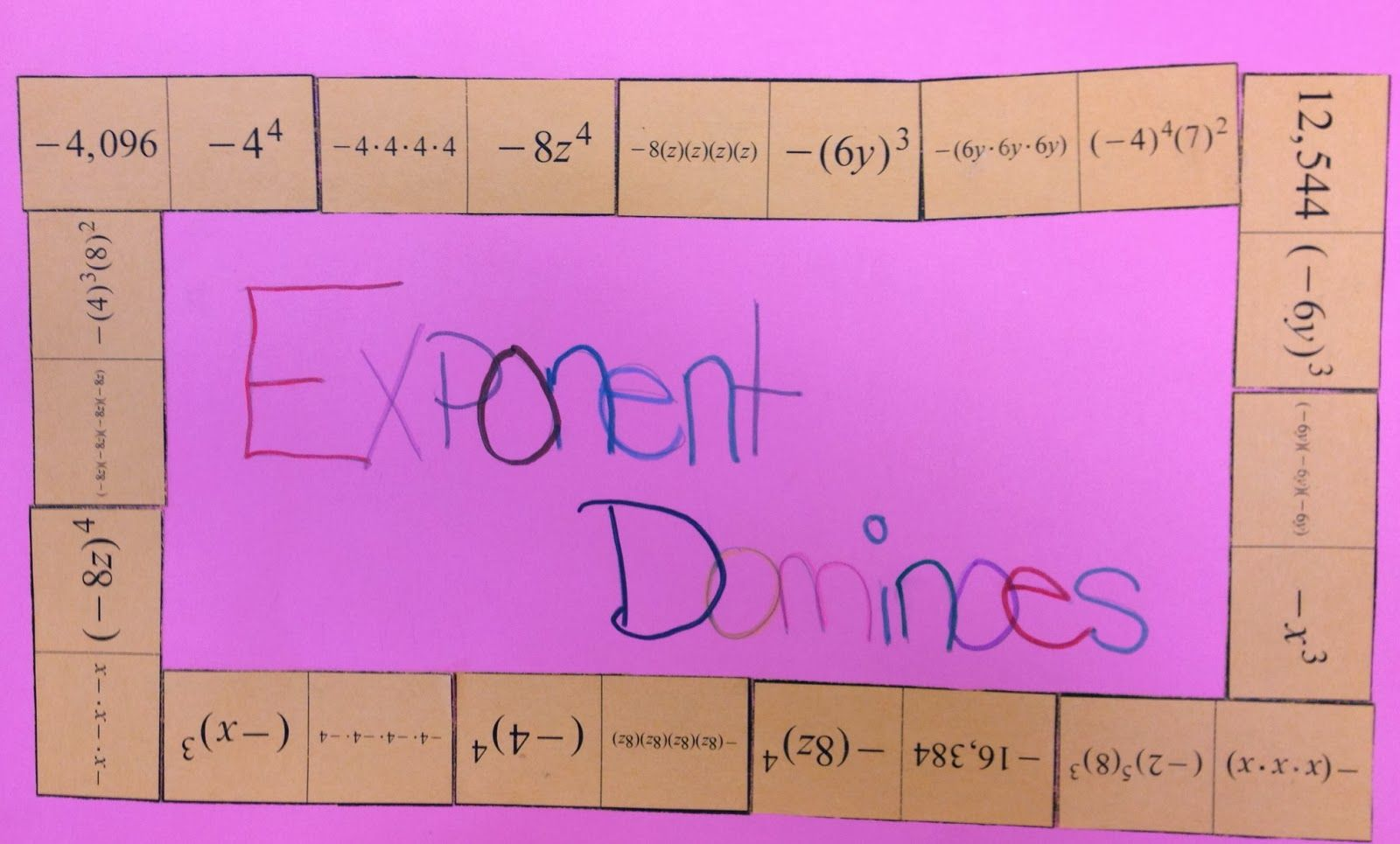 Exponent Dominoes Exponents