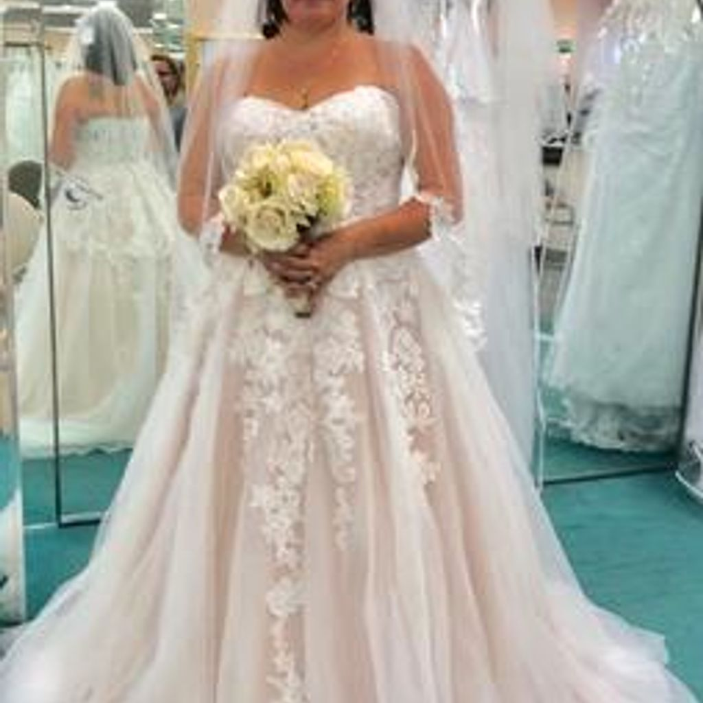 Sheer Lace Tulle Petite Ball Gown Wedding Dress Davids Bridal