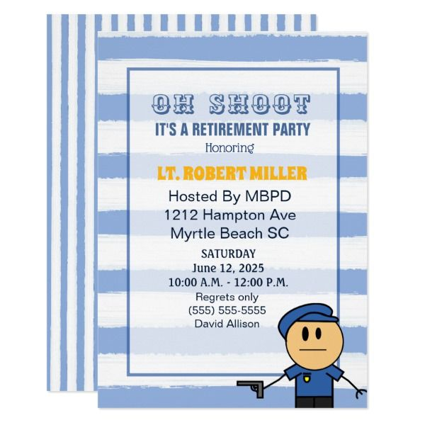Funny Police Officer Retirement Party Invitation  Funny Police