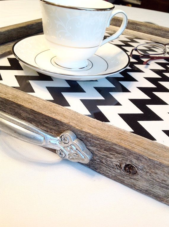 Serving Tray-Tray-Chevron Serving Tray-Wooden by TheCharmingBarn