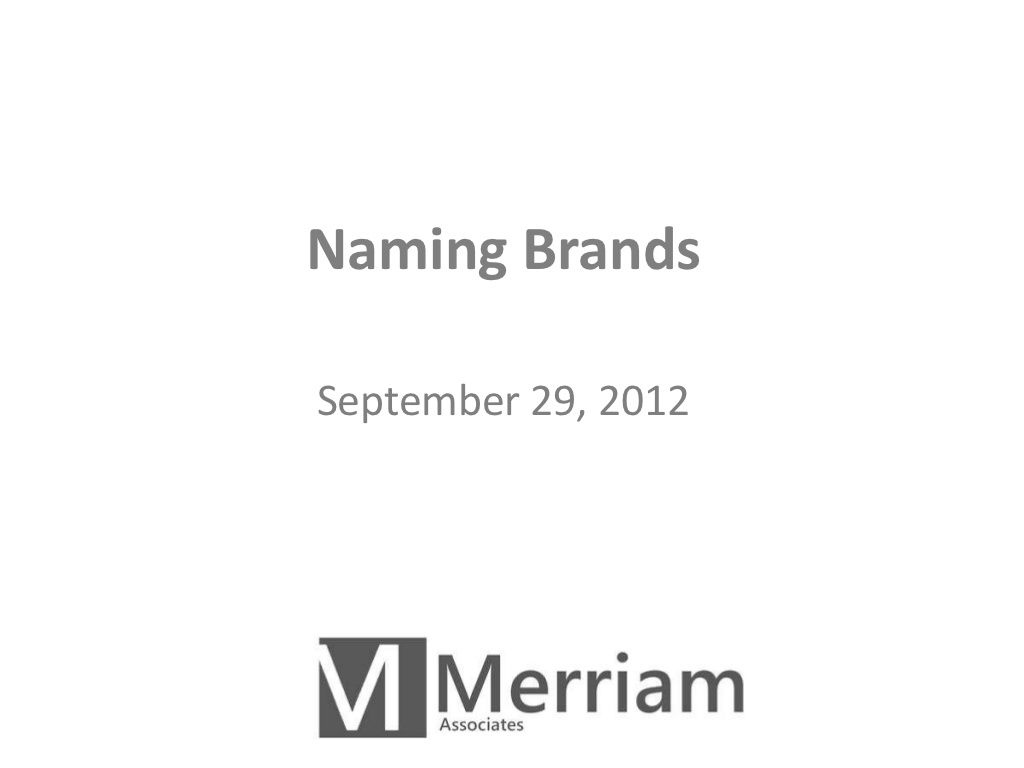 Naming Brands