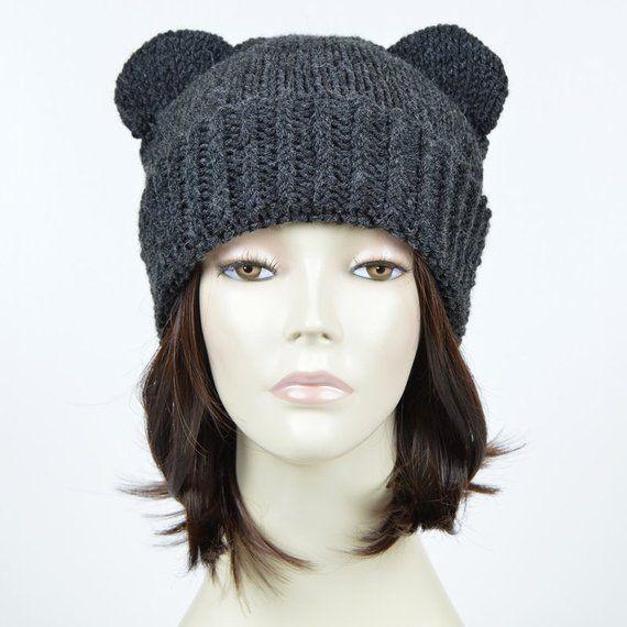 Bear Beanie Bear Ear Beanie Womens Bear Hat Mickey Mouse Knitted Bear Hat Bear  Ears Hat Hnit Hat Müt 31274366b3f