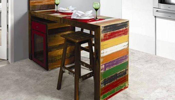 Aparador Buffete Zaiken Plus ~ Aparador Bancada para Cozinha, Madeira de Demoliç u00e3o Colorida, AP 14 Medidas Largura 150 cm