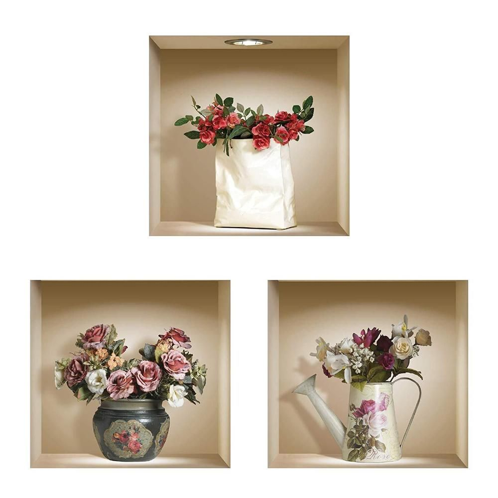 nisha 3d roses vinyl decorative wall art set lounge dining on wall stickers for hall id=37233