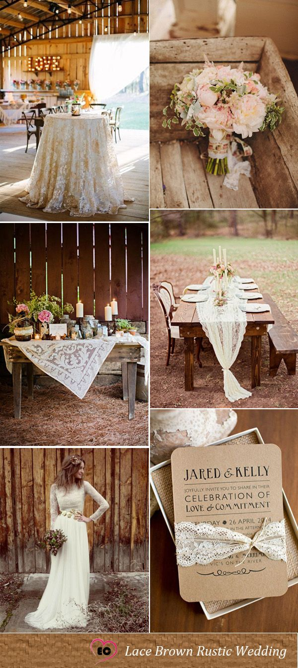 Lace inspired brown rustic wedding idea wedding dresses
