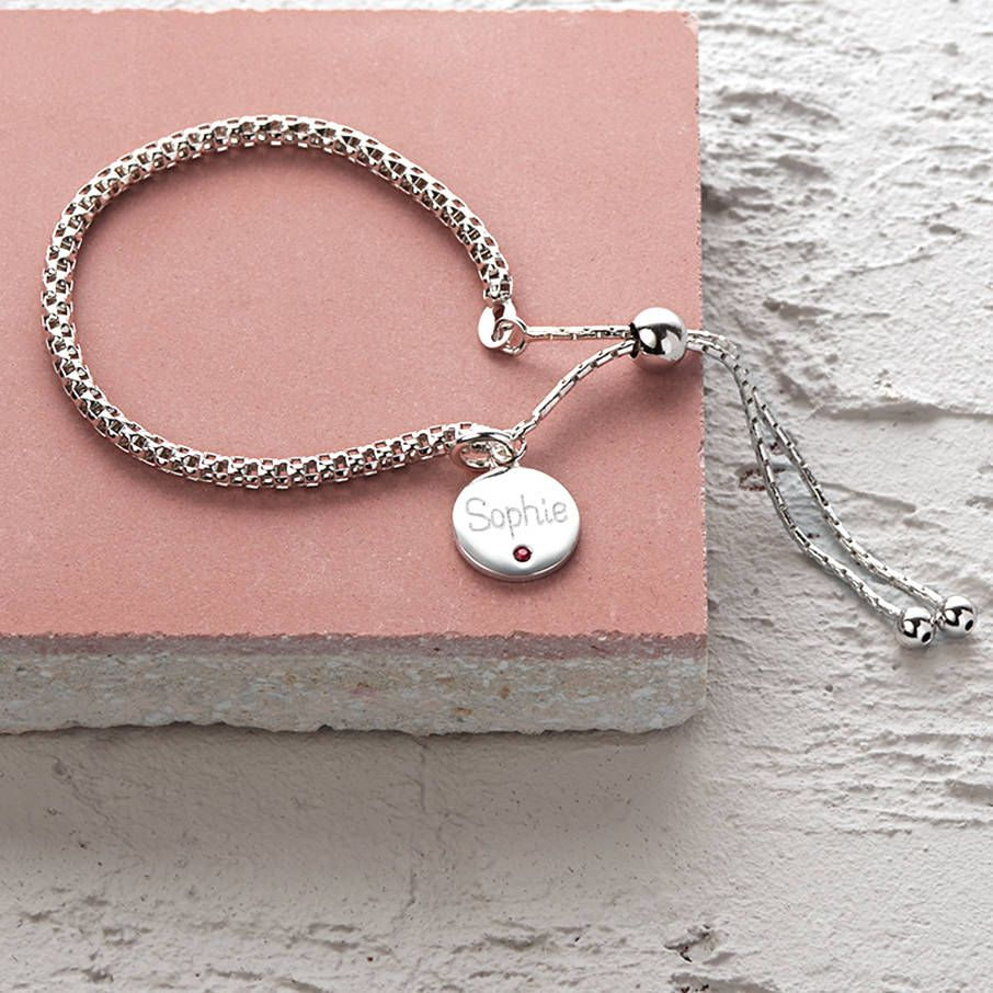 Personalised Sterling Silver Birthstone Charm Bracelet