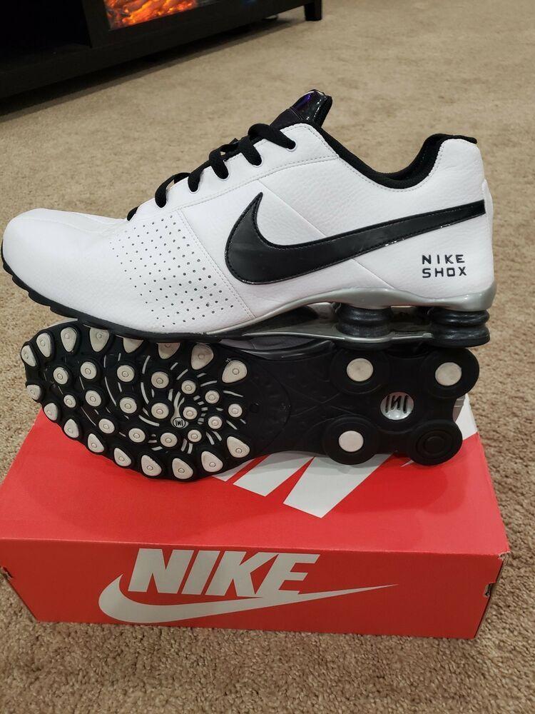 Men's Size 13 Nike Shox White Silver Black 317547 120