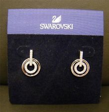 091f3b7a4 NEW SWAROVSKI MINI CRYSTAL AND RHODIUM CIRCLE PIERCED EARRINGS 5007750 MSRP  $70