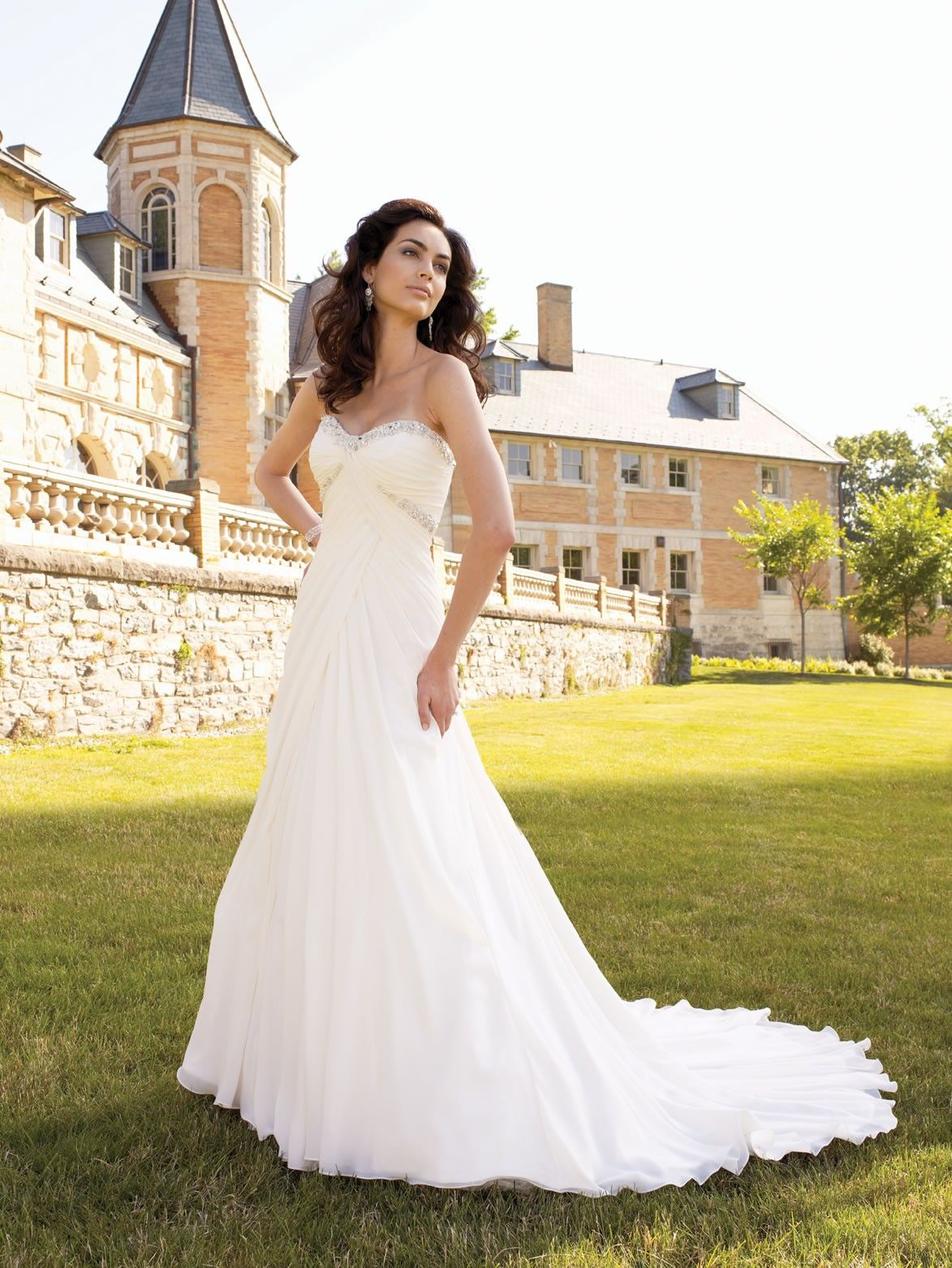 Chiffon sweetheart directionally draped bodice aline wedding dress