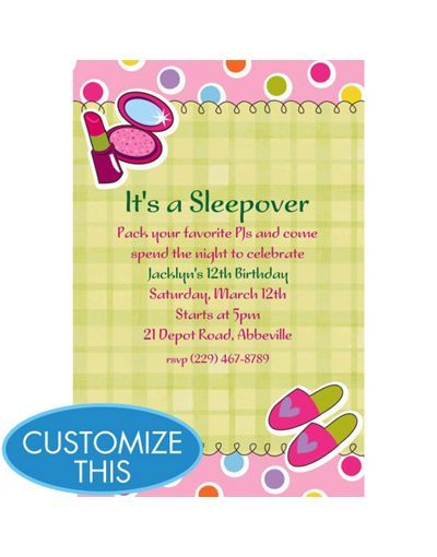 Cute Sleepover Or A Spa Party Invite Birthday Invitations Custom