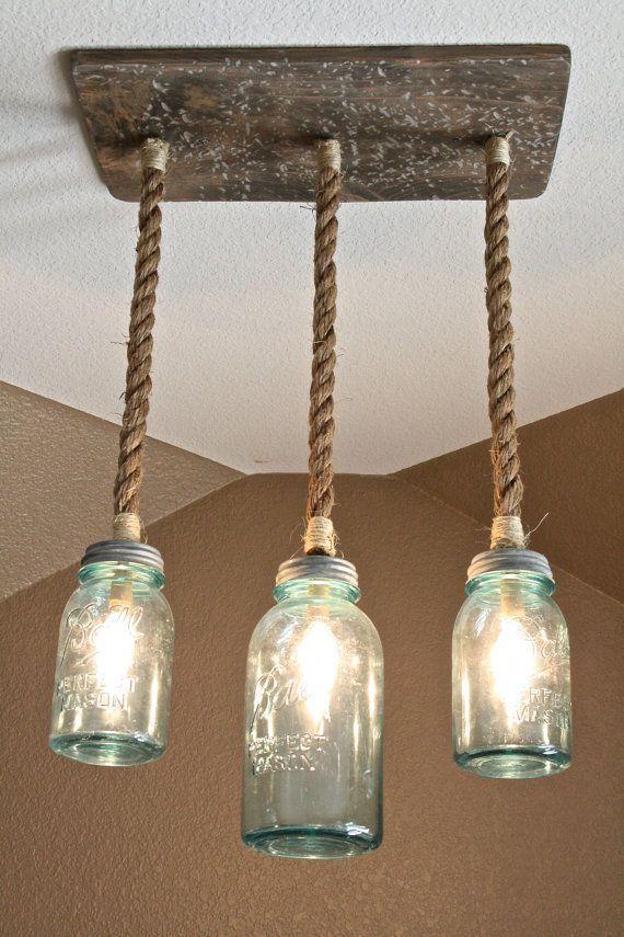 Mason Jar Triple Pendant Light With Vintage Blue Mason Jars Diy