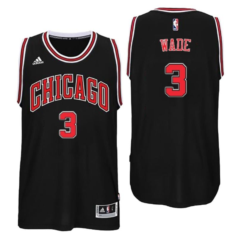 5a4f87bb7 Chicago Bulls 3 Dwyane Wade 2016 Alternate Black New Swingman Jersey ...