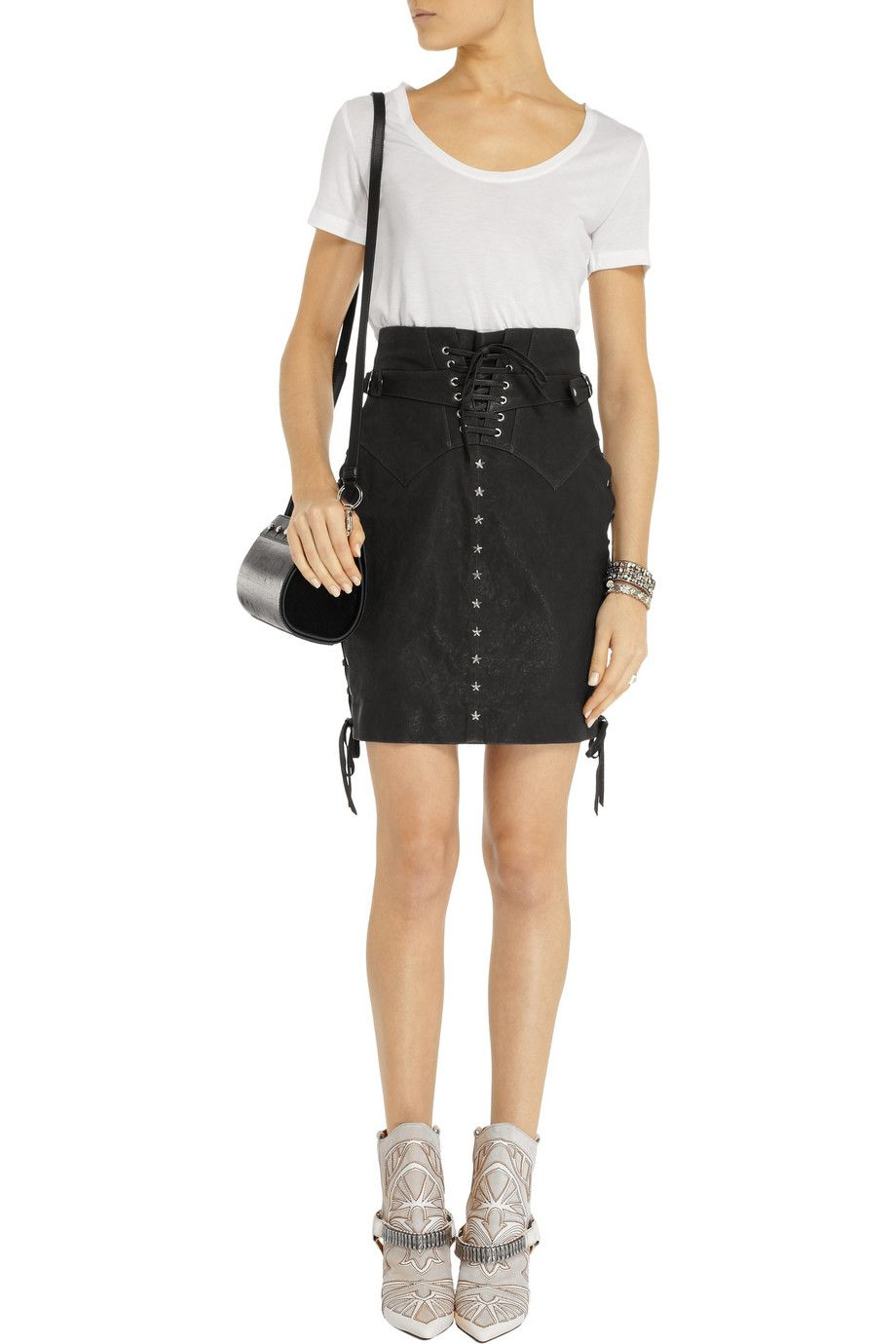 Yaele lace-up leather skirt | Isabel Marant | THE OUTNET ...