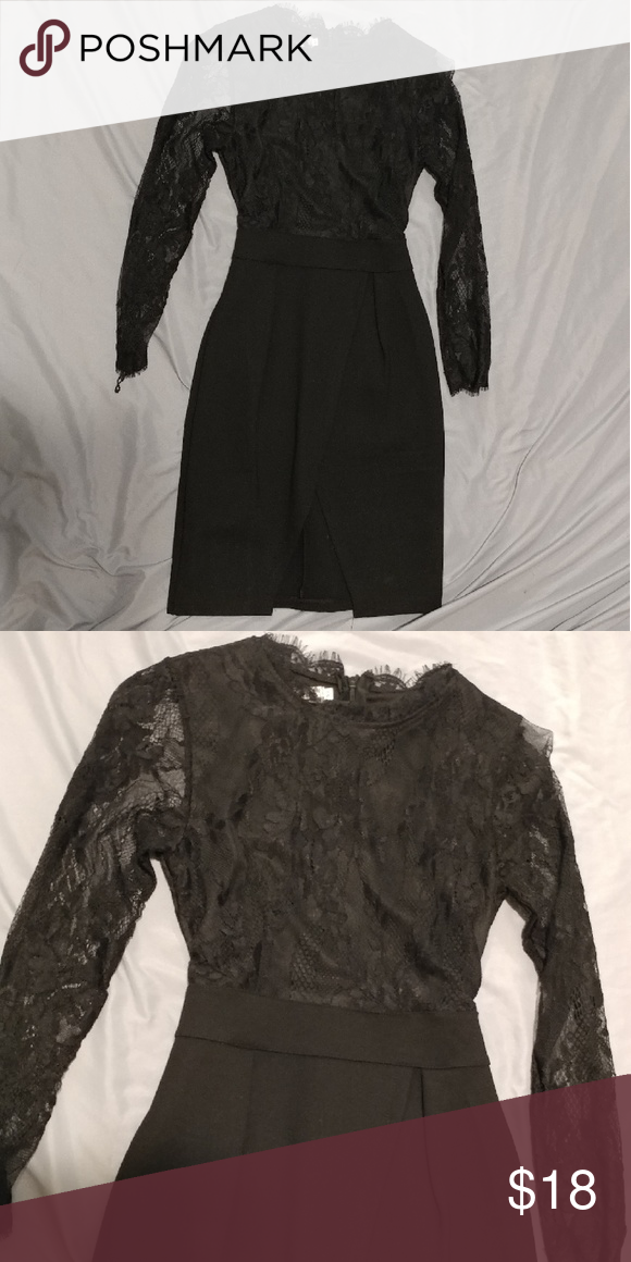 Little black dress Lace top high neck dress with sexy curve Dresses Long Sleeve