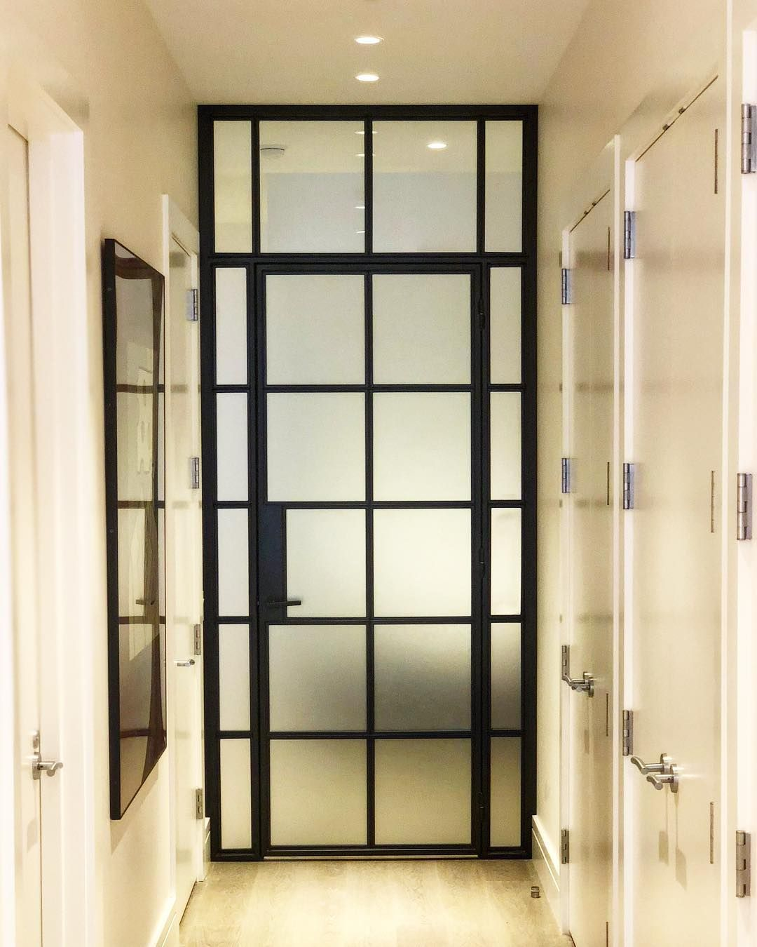 Newly Installed Interior Steel Door With Frosted Glass