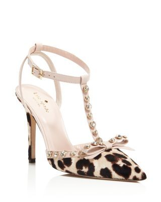 60664429c3a kate spade new york Lydia Leopard Print Calf Hair T Strap High Heel ...