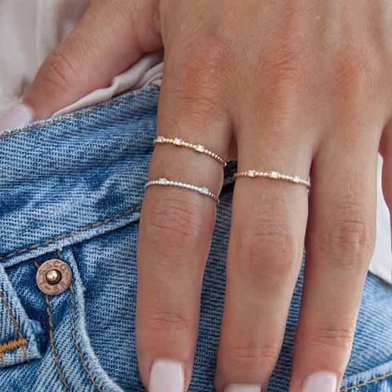 Diamant-Ring sehr dünnen Ring Gold Aussagering Gold Perlen ...