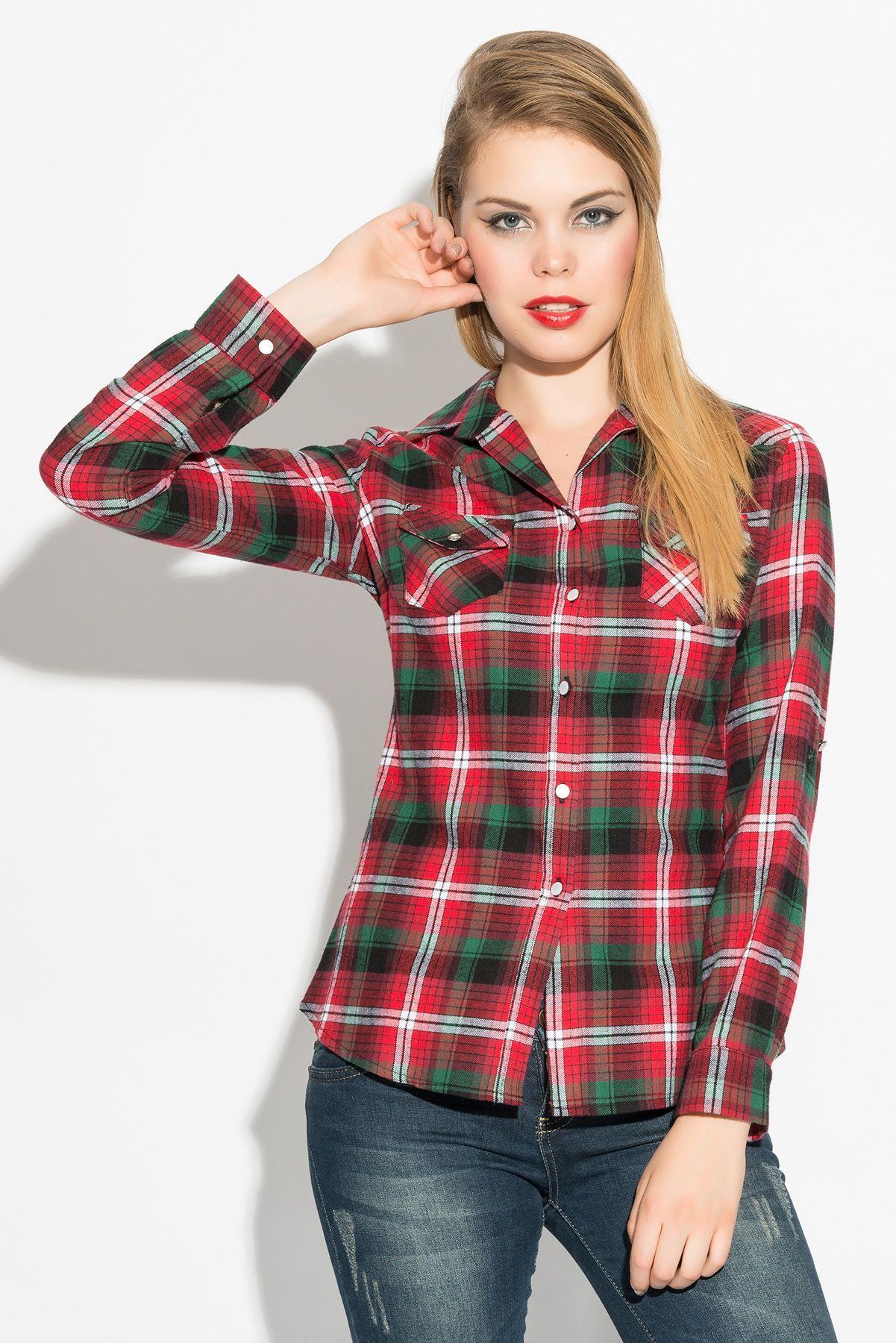 Ironi 2 Cepli Ekose Gomlek Sepetego Womens Plaid Women S Plaid Shirt Plaid Shirt