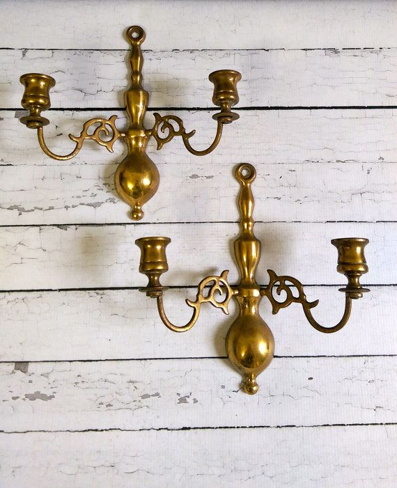 Vintage Brass Wall Sconces Made In England English Brass Sconces Pair Of Sconces An Wall Lights Antique Brass Antique Brass Candle Holders Brass Wall Sconce