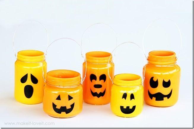 Jack-O'-Lantern Jars - Mason Jar Crafts Love