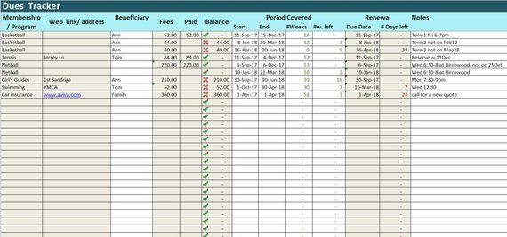 Prepayments Tracker Excel Template, Dues Log Spreadsheet