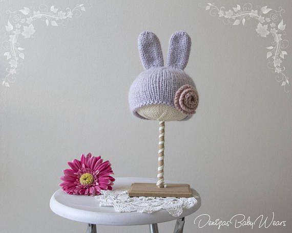Knitting Pattern Rabbit Hat : Romantic bunny baby bonnet knitting pattern hand knitted