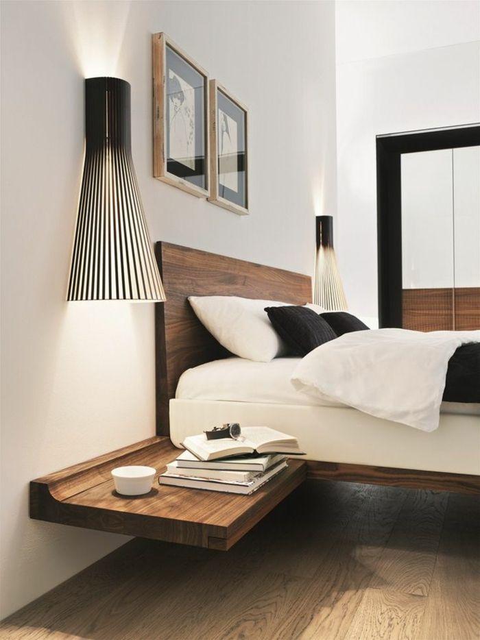 table de nuit suspendue un lit flottant et grandes lampes de chevet - Table De Lit