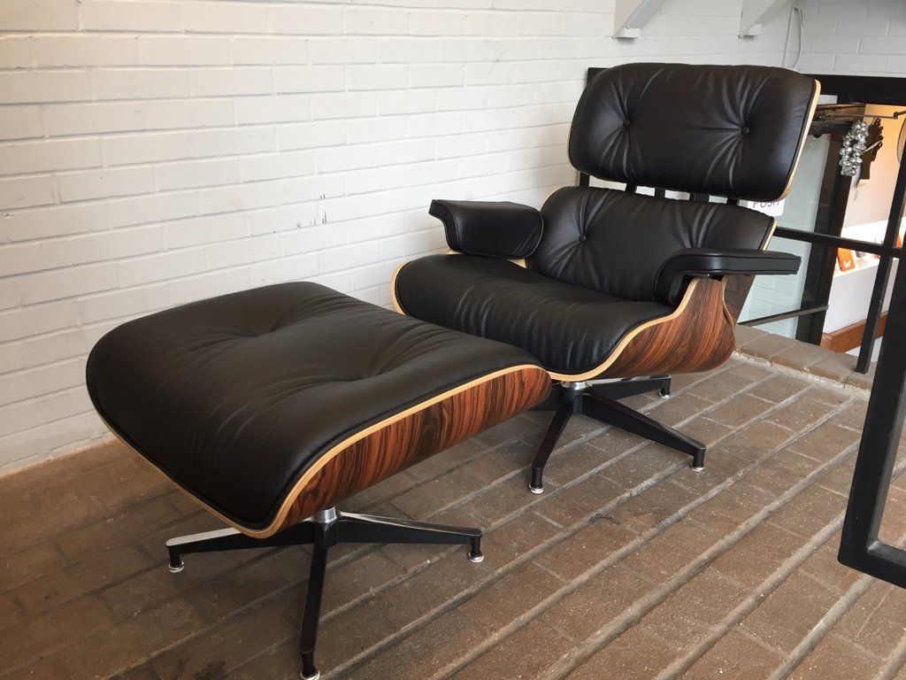 Strange Eames Style Leather Lounge Chair And Ottoman Italian Leather Bralicious Painted Fabric Chair Ideas Braliciousco