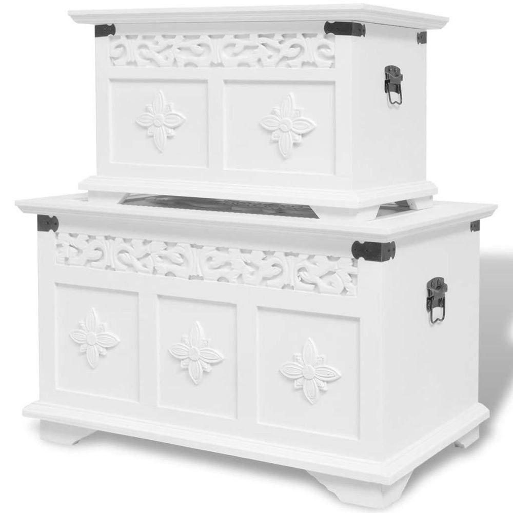 White storage chest two piece box cabinet bench table set home