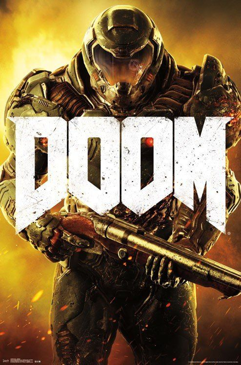 Doom Marine Video Game Poster 22x34 Rp14726 Upc882663047260 Doom Ps4 Doom Xbox One Doom Pc
